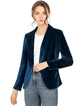 Allegra K Women s Office Coat Solid Shawl Collar 1 Button Velvet Blazer Medium Deep Blue