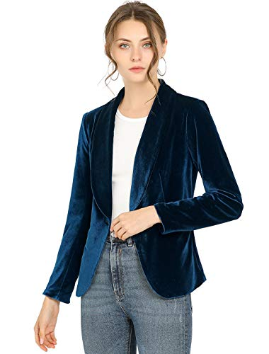 Allegra K Women's Office Coat Solid Shawl Collar 1 Button Velvet Blazer Medium Deep Blue
