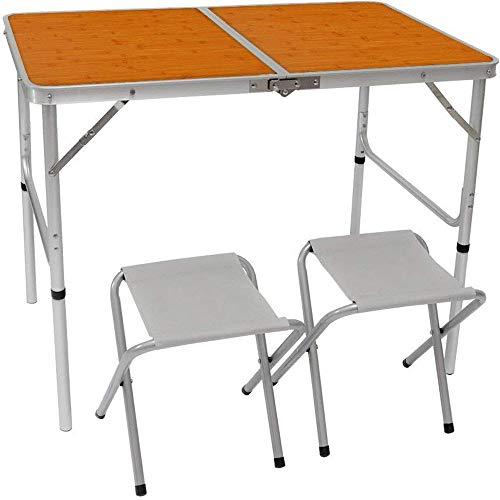 AMANKA Alu Kampeertafel set met 2 Stoelen - 90x60cm inklapbbar Campingtafel - Picknicktafel Vouwtafel Klaptafel
