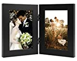 Golden State Art, Decorative Hinged Table Desk Top Picture Photo Frame, 2 Vertical Openings, with Real Glass (4x6 Double, Black, 1-Pack)
