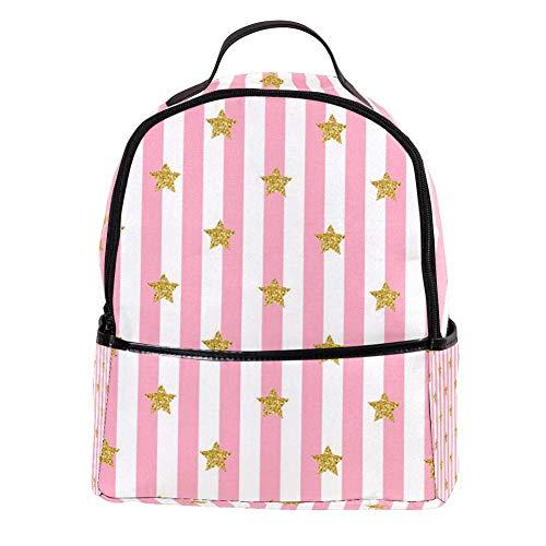 TIZORAX Laptop-Rucksack mit goldenem Glitzerstern auf rosa gestreiftem Laptoprucksack für Studenten, Schultasche, Handtasche – leicht