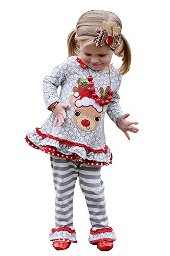 Christmas Girl Outfits,Fineser Cute Toddler Kids Baby Girl Christmas Deer Ruffle T-Shirt Tops+Stripe Flare Pants Outfits Sets (Gray, 12-18Months)…