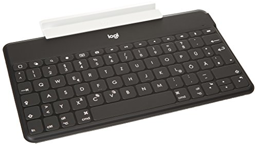 Logitech Keys-To-Go Teclado Inalámbrico Bluetooth para iPhone, iPad, Smartphone, Tablet, Android, Windows, Apple TV, Ligero, Portátil, Disposición QWERTZ Alemán, Negro