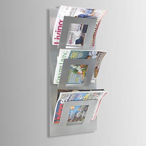 The Metal House Zeitungsständer, 3 Ebenen, zur Wandmontage, Metallic-Silber