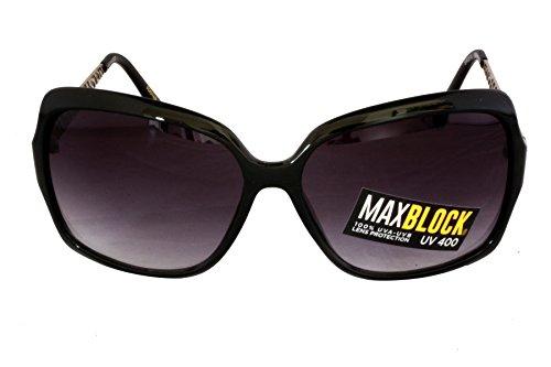 Foster Grant GIGI BLK FG63 Gafas de sol de estilo cuadrado de las mujeres Negro Marco y brazos de plástico Brazos grabados en metal plateado Gradiente negro 100% Protección UV CAT 3