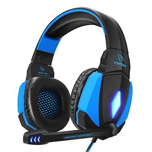 YINSAN Cascos Gaming, Auriculares Premium Stereo con Micrófono,...