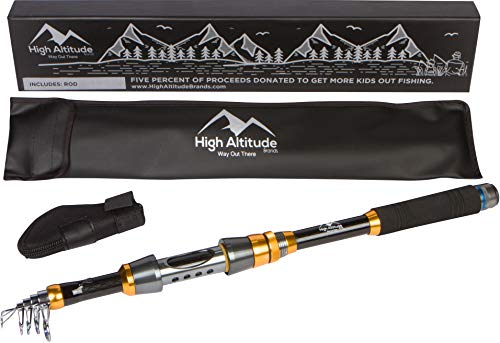 High Altitude Lightweight Backpacking Telescopic Fishing Pole, Case Available Spinning Reel Rod...