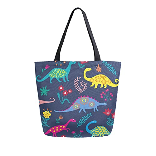 AHYLCL Animal Dinosaur Flower Leaves Tote Bag Canvas Shoulder Bag Reusable Large Multipurpose Use Handbag for Work School Shopping Outdoor