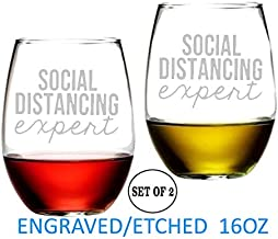 Social Distance Expert Stemless Wine Glasses Etched Engraved Perfect Fun Handmade Gifts for Everyone Set of 2