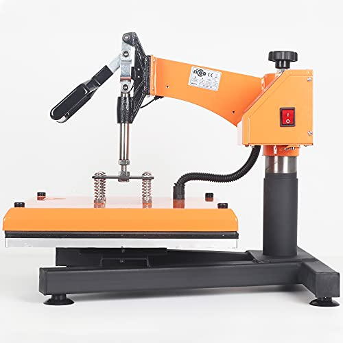 RICOO Transferpresse T538B-GS [38x38cm] T-Shirtpresse Heat Press Thermopresse Textilpresse für Transfer-Folie Transfer-Papier    Gelb/Orange    - 5