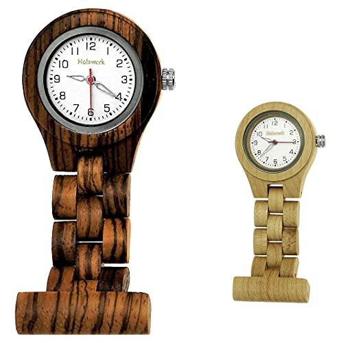 Handgefertigte Holzwerk Germany® Schwestern-Uhr Taschen-Uhr Ansteck-Uhr Puls-Uhr Kittel-Uhr Pflegeuhr-Uhr Öko Natur Holz-Uhr Braun Weiß Zebra Krankenschwester-Uhr Analog Klassisch Quarz-Uhr