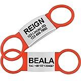 TagME 2 Paquete Etiquetas de Identificación de Acero Inoxidable Para Perros y Gatos / Placa de Identificación Silenciosa Grabada con Nombre y Número de Teléfono, Rojo, S