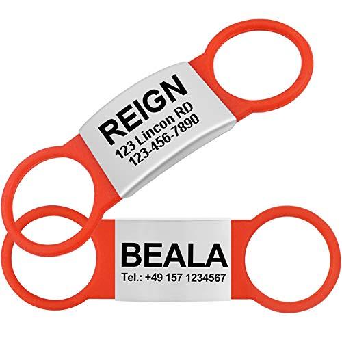 TagME 2 Paquete Etiquetas de Identificación de Acero Inoxidable Para Perros y Gatos / Placa de Identificación Silenciosa Grabada con Nombre y Número de Teléfono, Rojo, L