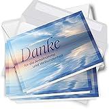 10 x Trauer Danksagungskarten Klappkarten mit Umschlag DIN A6, Trauerkarten Motiv Meer blau, Danke Sagen nach Beerdigung, Trauerfall