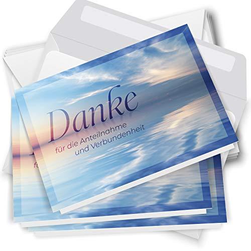 Trauer Danksagungskarten mit Umschlag   Motiv: Meer blau, 10 Stück   Dankeskarten DIN A6 Set   Klappkarten-Trauerkarten Danksagung Danke sagen