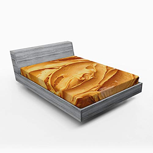 ABAKUHAUS Pindakaas Hoeslaken, Amerikaans ontbijt, Zachte Decoratieve Stof Beddengoed, Elastische Band Rondom, 150x 190 cm, Licht bruin