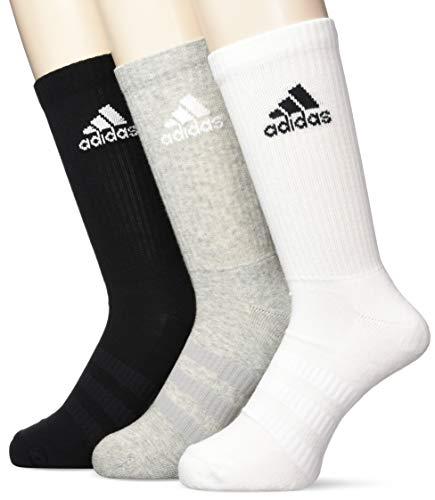 adidas Cush CRW 3pp, Socks Uomo, Medium Grey Heather/Medium Grey Heather/Black, M