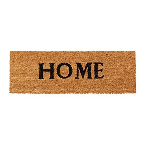 Relaxdays – Felpudo Home para la Entrada del hogar, 1.5 x 75 x 25 cm, Fibra de Coco y PVC, Antideslizante, Color Natural