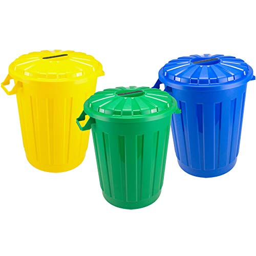 TIENDA EURASIA® Cubos de Basura de Reciclaje con Tapa - Pack de 3 Cubos de 30 L - Material Plastico Eco Libre de Bpa - Alta Resistencia - Ideal para Reciclar
