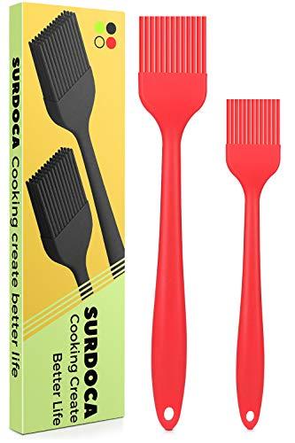 SURDOCA Pennello Cucina pennelli Silicone Cucina, 8.2' + 10.1' Silicone Alimentare Senza BPA Pennello Dolci, 446℉(230℃) Resistenza al Calore pennellino Pasticceria pennelli Barbecue Pennello Forno