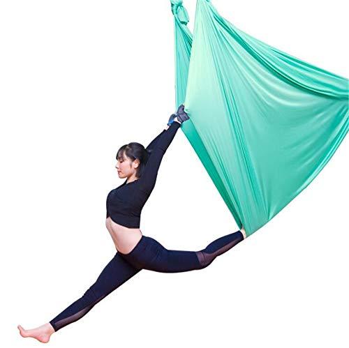 BCLGCF Hamaca De Yoga Aérea - 5 M, Elástico Duradero, Hamaca De Yoga Aérea, Columpio, Accesorio De Entrenamiento Físico, Ejercicios De Inversión, Flexibilidad Mejorada Y Fuerza Central,Verde
