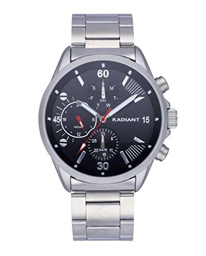 Reloj analógico para Hombre de Radiant. Colección Commander. Reloj con Brazalete Plateado y Esfera Negra. 5 ATM. 44mm. Referencia RA571701.