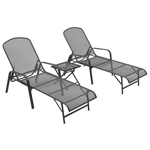 Festnight Sonnenliege Doppelliege mit Tisch Gartenliege 2 Personen Liegestuhl Liege Outdoor Sonnenstuhl Wetterfest Gartenmöbel Relaxliege für Garten Balkon Terrasse Schwimmbad, Stahl Anthrazit