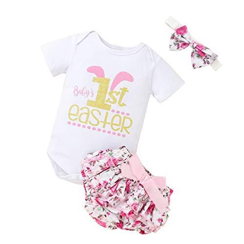 Borlai Conjunto de ropa para bebé niña con diseño floral de 1ª Pascua