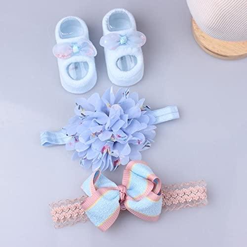 Conjunto de 3 uds, Conjunto de Calcetines con Diadema de Flores de Encaje para niña, Lazos, Diadema para recién Nacidos, Diademas para niñas, Turbante para el Pelo del bebé-Blue no Box