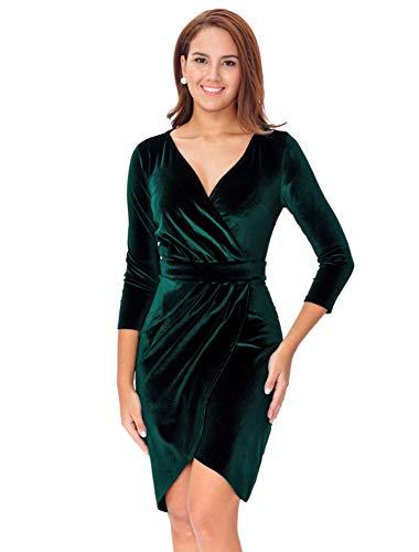 InsNova Winter Long Sleeve Velvet Cocktail Dresses for Women Wedding Guest Christmas Plus Size Wrap Holiday Dress, Emerald Green