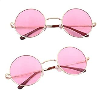 Gold Frame with Pink Lens Fashion UV400 Round Sunglasses John Lennon Style Eyewear