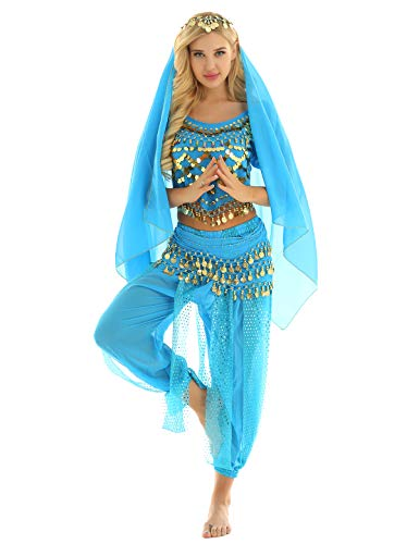 CHICTRY Traje Danza del Vientre Mujer Chica Disfraz de Bailarina Arabe Egipcio Fiesta Halloween Ropa de Baile Latina India Conjunto Top con Pantalones Harem Cadera y Bufanda Lago Azul One Size