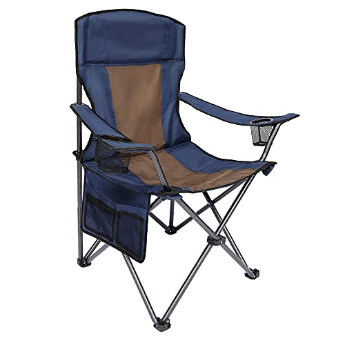 AsterOutdoor Camping Folding Chair Padded Quad Arm Chair with Large Cup Holders, Side Organizer & Back Pocket for Outdoor, Camp, Indoor, Patio, Fishing, Supports 350lbs