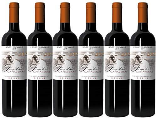 Familia Cañaveras - 130 Aniversario - Vino Tinto Merlot & Tempranillo - Vino de la Tierra de Castilla- 6 botellas x 750 ml
