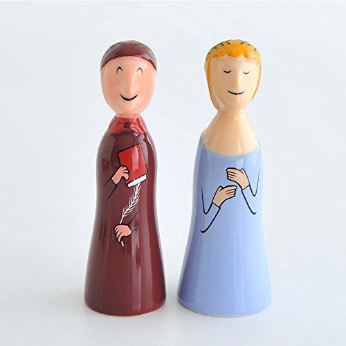 Alessi AMGI42SET1 Dante e Virgilio Set di Due Statuine, Porcellana, Multicolore, 0.1x0.1x10 cm
