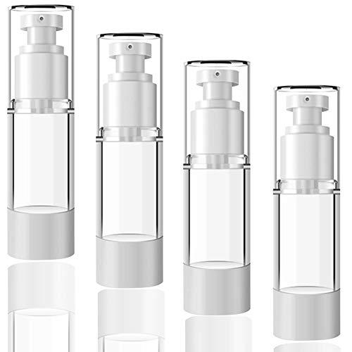 30ml Bote Airless Dispensador de Bomba (4 Piezas) Botella Vacía de Viaje, rellenables vacías para bomba de loción de viaje contenedores/botellas de bomba de presión al vacío para base, esencia, loción