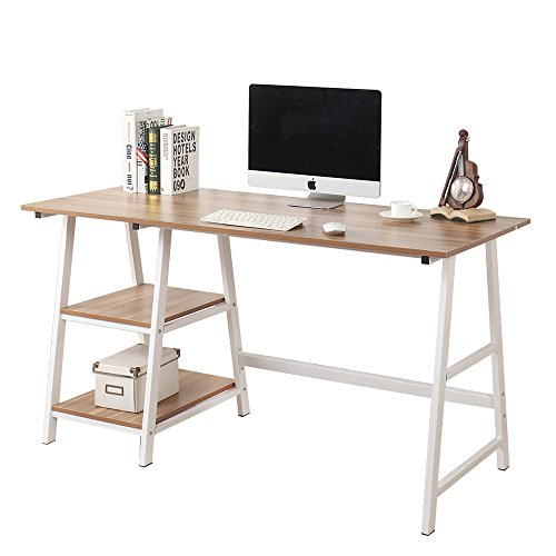 Soges 55 inches Trestle Desk Computer Desk Writing Desk Home Office Desk Hutch Workstation with Shelf, Oak CS-Tplus-140OK-U