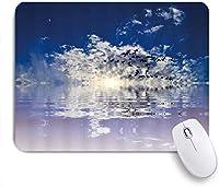 VAMIX マウスパッド 個性的 おしゃれ 柔軟 かわいい ゴム製裏面 ゲーミングマウスパッド PC ノートパソコン オフィス用 デスクマット 滑り止め 耐久性が良い おもしろいパターン (オーシャンブルー曇り空を飛んでいるカモメの鳥の夕日海の水の反射自然)