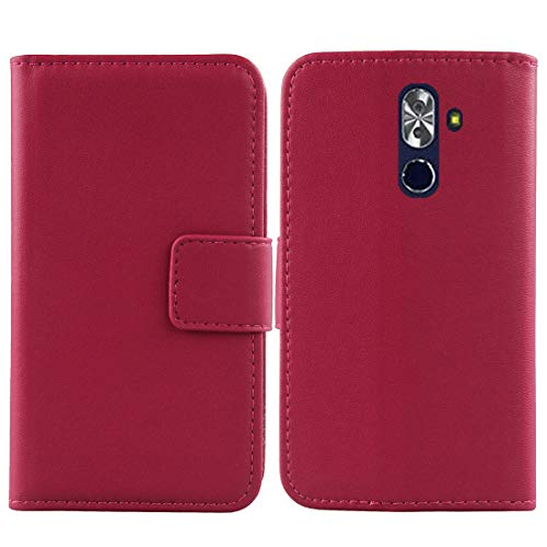 "Gukas Design Genuine Leather Case for NUU Mobile G2 5.99"" Wallet Premium Flip Protection Cover Skin Pouch with Card Slot (Rose)"
