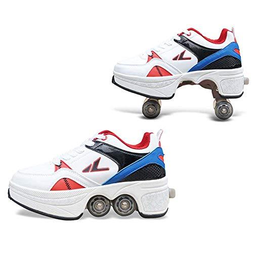 Fbestxie Kinderschuhe mit Rollen Skateboardschuhe Skate Schuhe Roller Skate Shoes Rollen Schuhe Skateboard Schuhe Schuhe mit Rollen Kinder Jungen Mädchen Schuhe Sneaker Sportschuhe mit Rollen,42