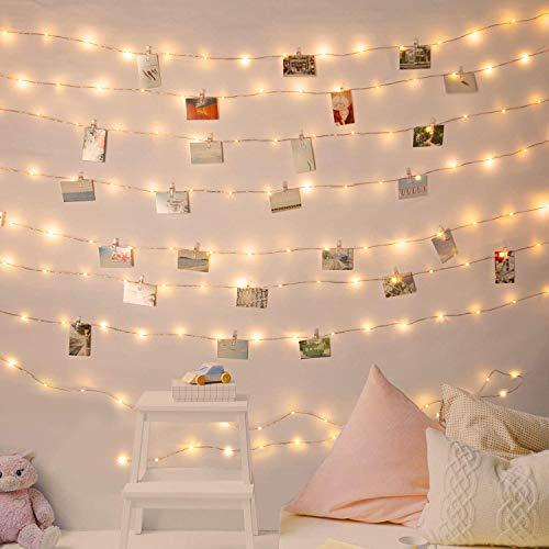 Ibello Guirnaldas Luces Fotoclips 100 Led 10m Guirnalda luminosa, Alimentado por Pilas con 60 Pinzas Para colgar fotos, ideal para Casa, Pared, Navidad, Conmemoración (blanco cálido) ⭐