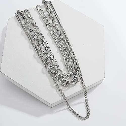 NVTHINH Amorcome Hip Hop Silver Color Chain Choker Necklace Women Men Jewelry Gifts Multilayer Punk Geometric Pendant Necklaces Collares (Metal Color: layered necklace)