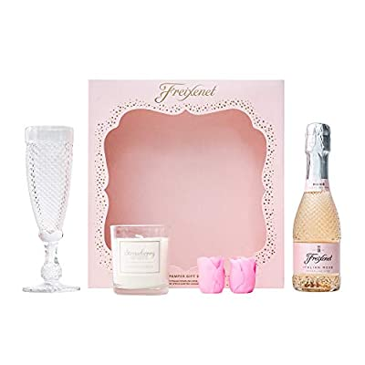 Freixenet Sparkling Wine & Pamper Gift Set | Gift Box Includes Freixenet Italian Rose Sparkling Wine 20cl, Champagne Flute, Bath Bombs and Strawberry Spritz Scented Candle | Prosecco Gifts for Women