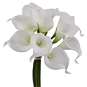 Angel Isabella 10pc Set Real Touch Calla Lily-Fragrance Supreme Quality Keepsake Artificial Flower