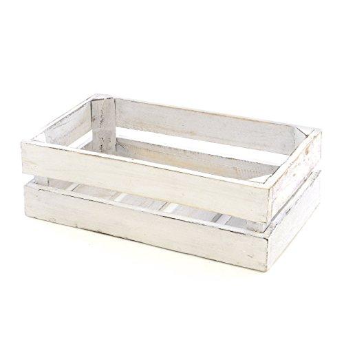"""divero Vintage Holzkiste weiß Staubox Weinkiste Obstkiste Aufbewahrungsbox Größe Mini """"XS"""" 36 x 17cm / Höhe: 15cm Stapelbox Regal-Box"""