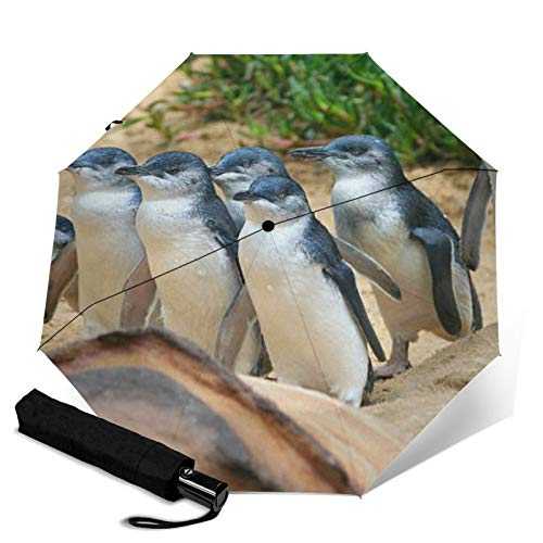 Penguin,Waterproof Automatic Folding Umbrella Manual Tri-Fold Umbrella Portable Compact Umbrella for Daily