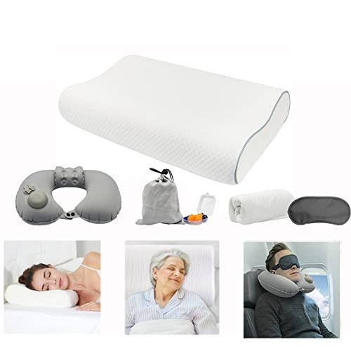 Cojín cervical de altura ajustable, almohada de espuma viscoelástica, almohada cervical ergonómica para dolores de cuello, almohada cervical para dormir con 1 almohada de viaje y 2 fundas lavables.