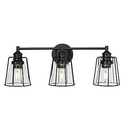 VINLUZ 3 Lights Bathroom Vanity Light Fixtures Black Metal Cage Modern Industrial Wall Lighting with Clear Glass Shade, Farmhouse Wall Mounted Light Kitchen Dining Room Art Display Restaurant
