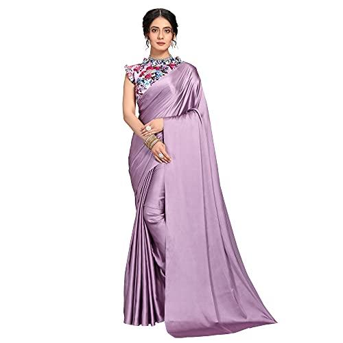Dhyan Women's Banarasi Satin Silk Saree With Blouse Piece