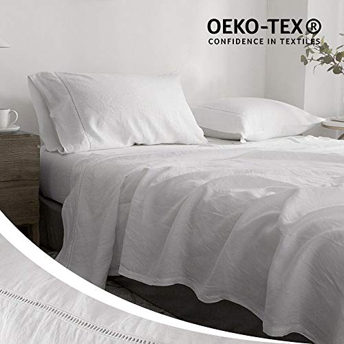 Simple&Opulence 100% Pure Linen Bed Sheet Set Queen 4pcs Luxury White Bedding Set Hemstitch Design(White)